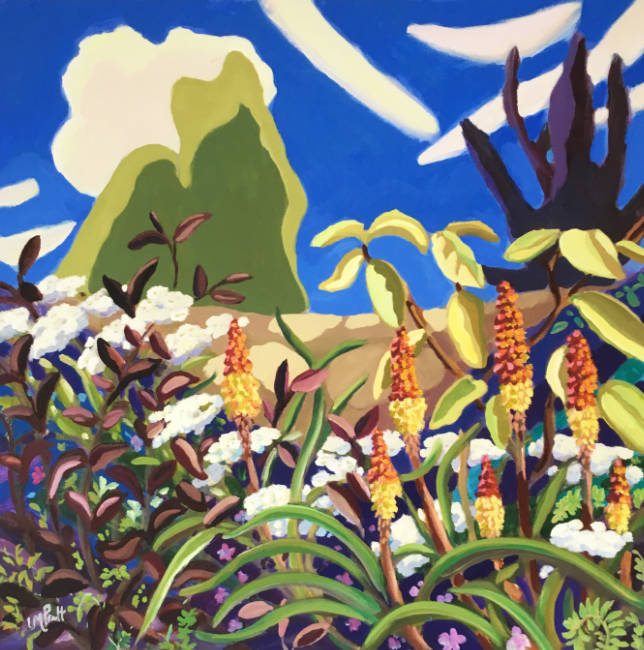 Striped sky, red pokers - Lucy Pratt