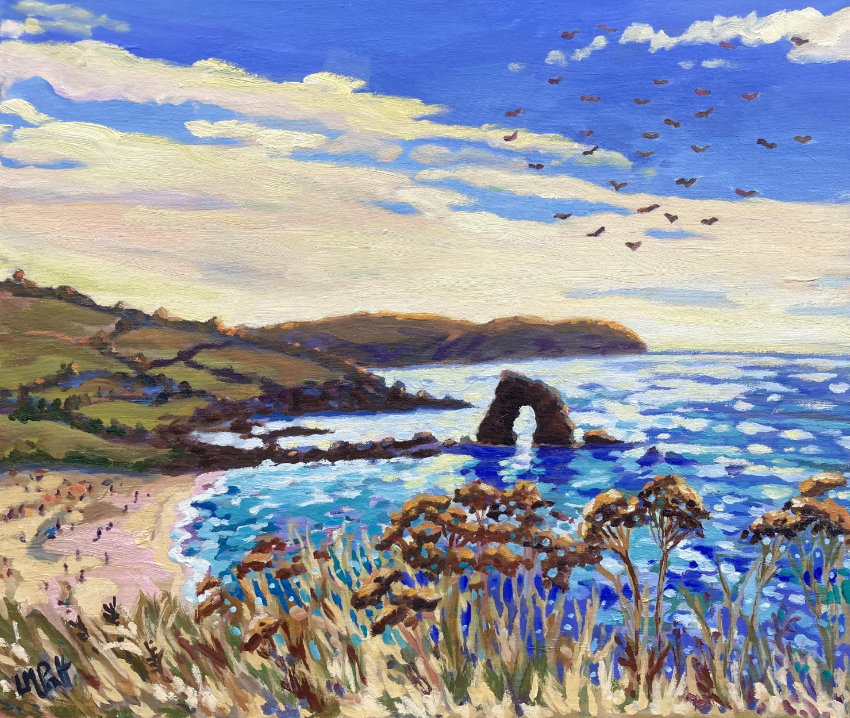 Lucy Pratt - Blue waters, Thurlestone Rock - 20 x 24 inches - Oil on Canvas